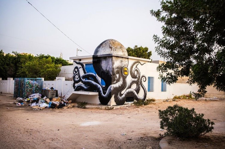 Beautiful Animal Street Art in Tunisia by ROA