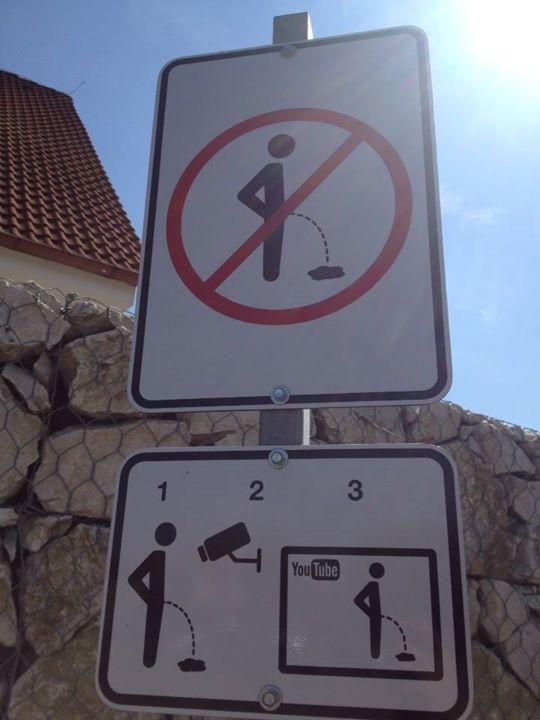 Czech Anti-Public Urination Sign Threatens Violators With YouTube Shame