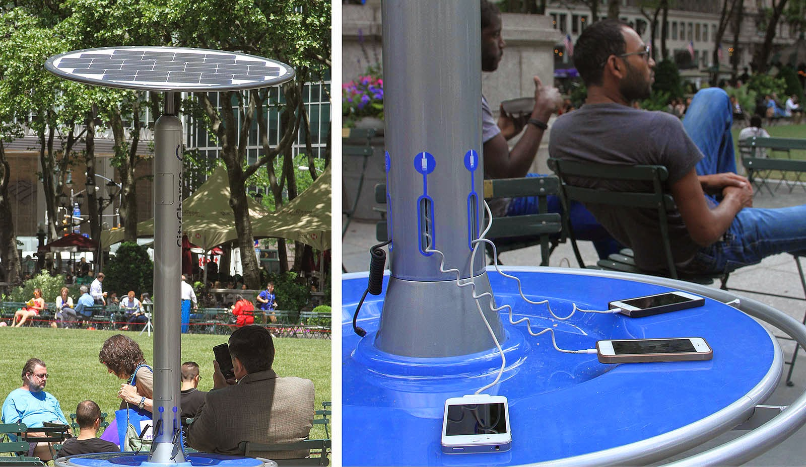 Bryant Park in New York City Begins Testing Solar-Powered Smartphone  Charging Stations