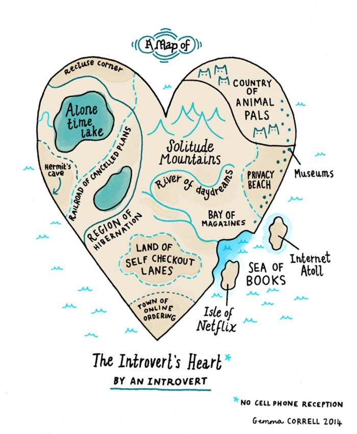 An Accurately Illustrated 'Map of an Introvert's Heart' by Gemma Correll