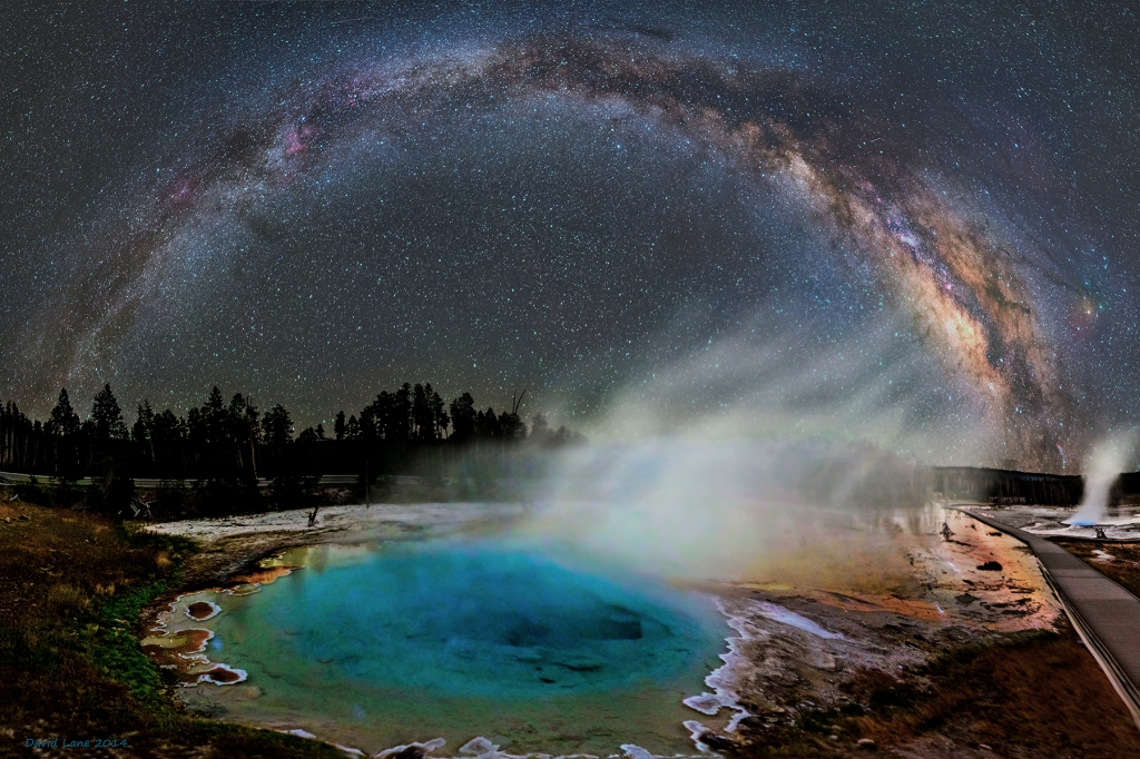 Gorgeous Photo of the Milky Way in the Night Sky Over Yellowstone National Park's Silex Spring