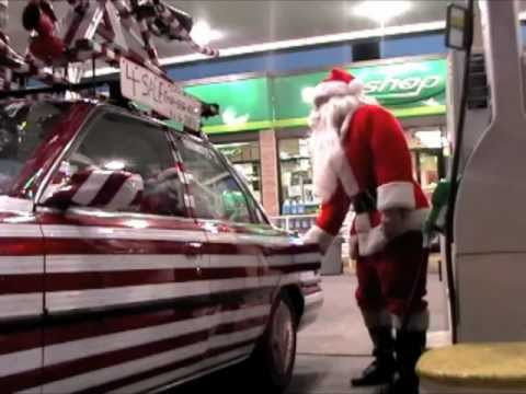 Candy Cane Car, A Red & White Striped Reflective Art Car