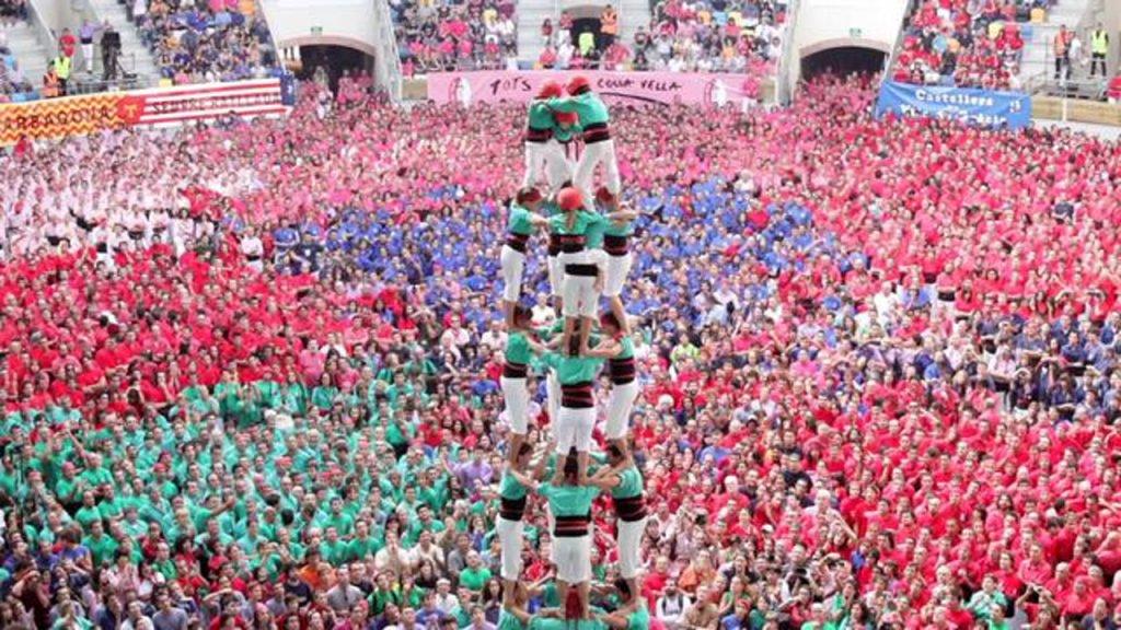 Castells, Creating Human Towers In Tarragona, Spain