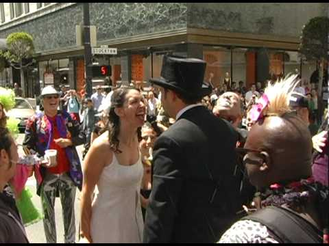 Couple Stage a (Re)wedding in San Francisco Street Intersection