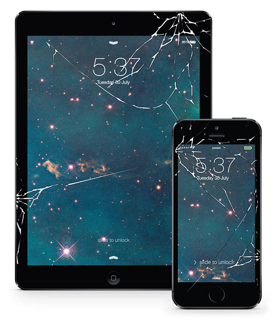 Stickers That Make An Iphone Or Ipad Look Like They Have A Cracked Screen By Thinkgeek