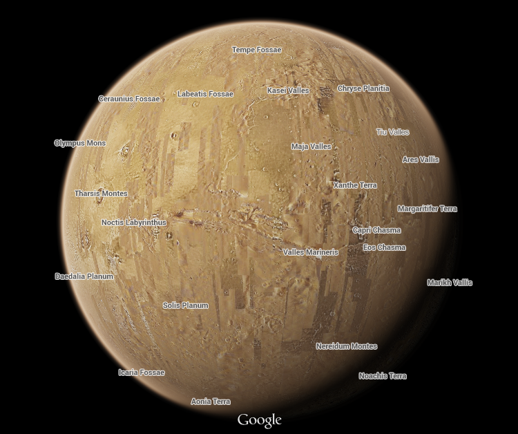 printable map of planet mars - photo #21