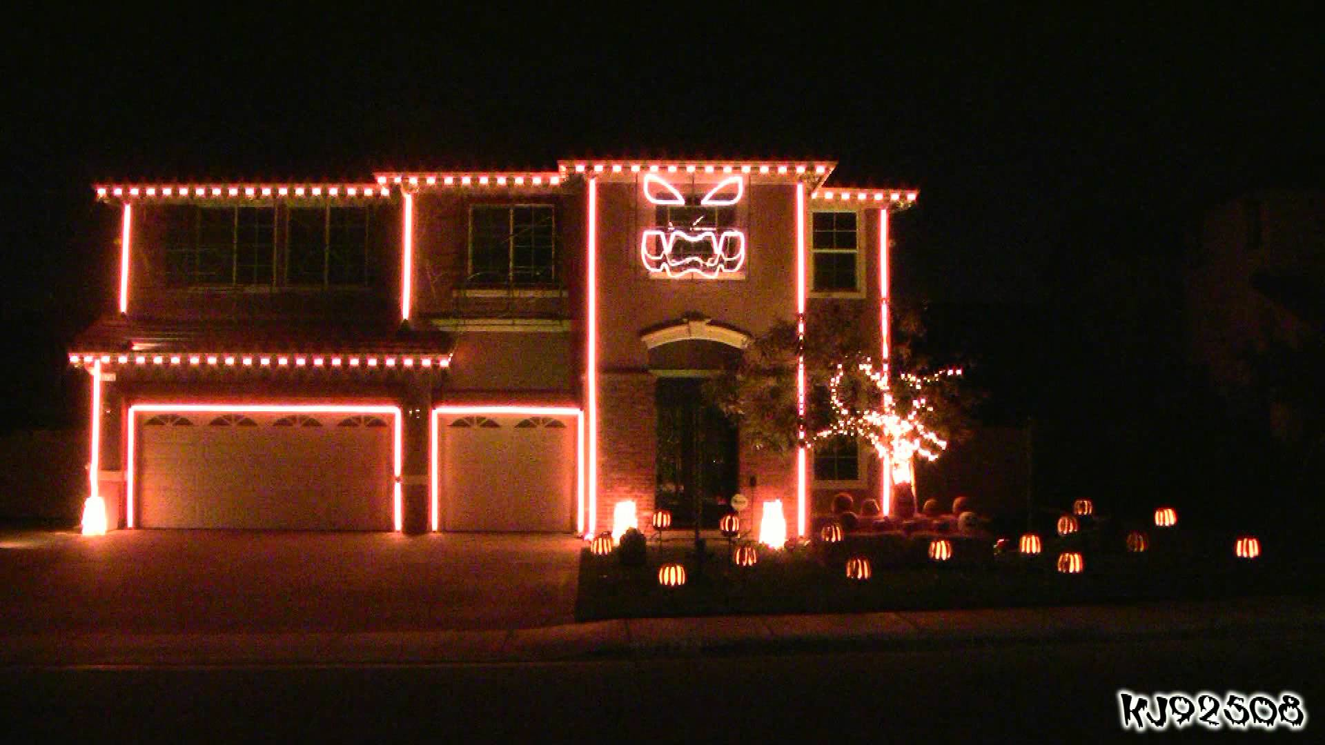 Halloween Light Show A House With Led Lights Synchronized To Music