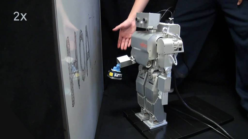 Humanoid Robot Taught to Clean Whiteboard