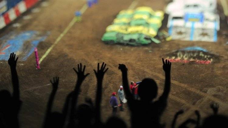 Metal Heart, A Tilt-Shift Video of Monster Trucks