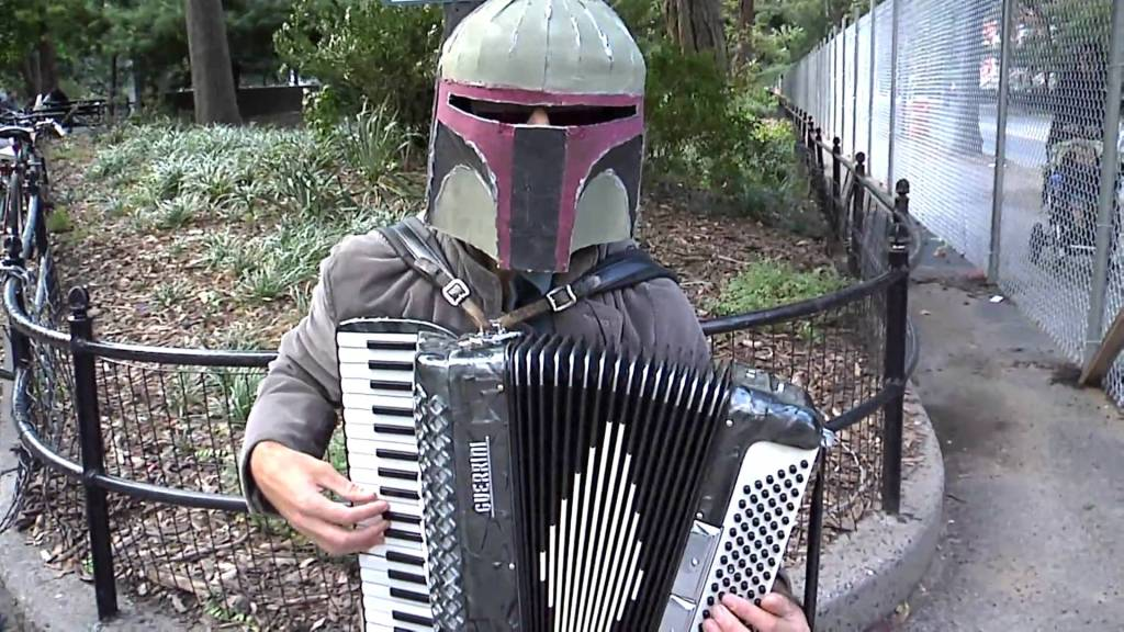 Renegade Accordionist Nathan Stodola Performs With Boba Fett Helmet