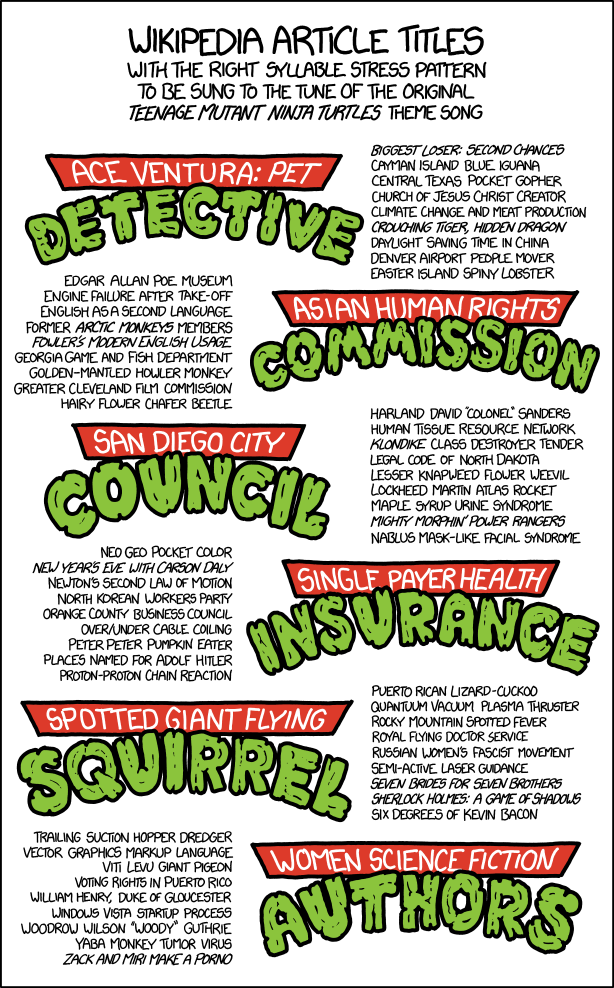 xkcd Teenage Mutant Ninja Turtles