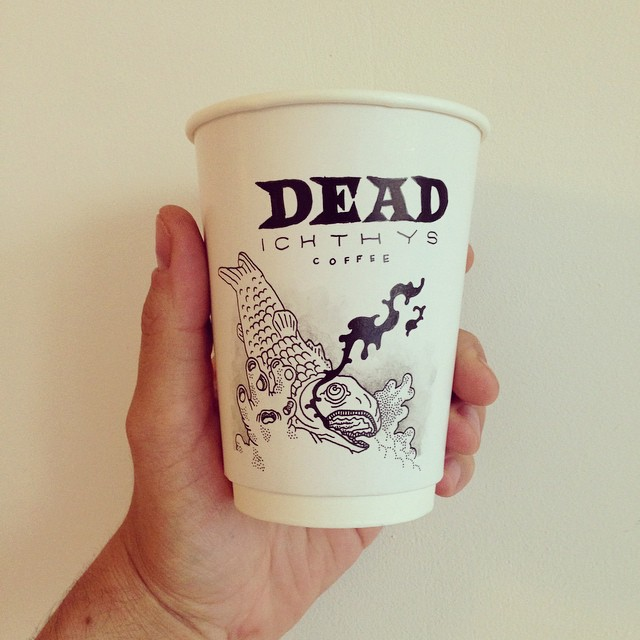 Grim Coffee Brand and Café Logo Concepts on Coffee Cups