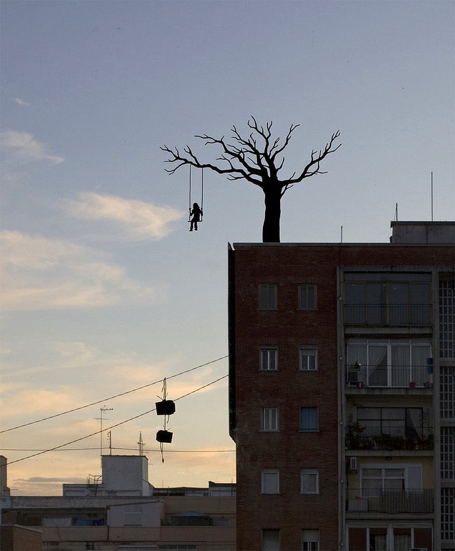 Delightful Silhouette Art on Windows by Pejac