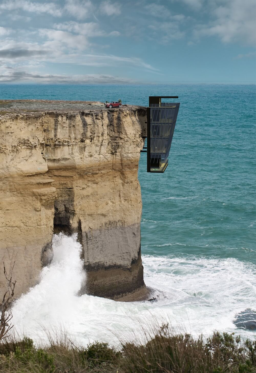 A Five-Story House That Hangs Off the Edge of a Cliff