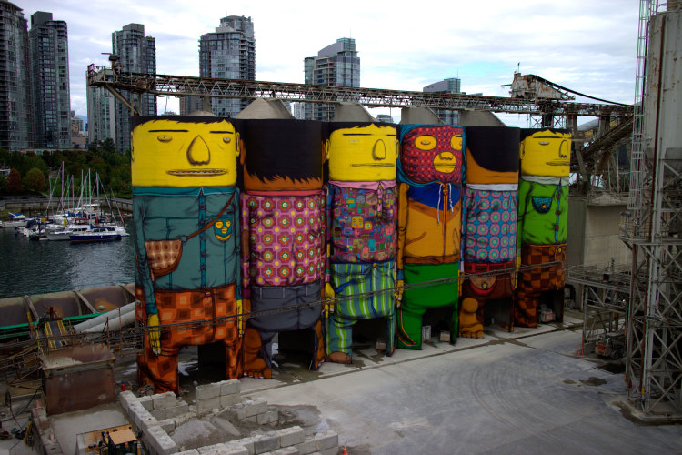 Six Industrial Silos in Vancouver Converted Into Massive Public Art Installation by Os Gemeos