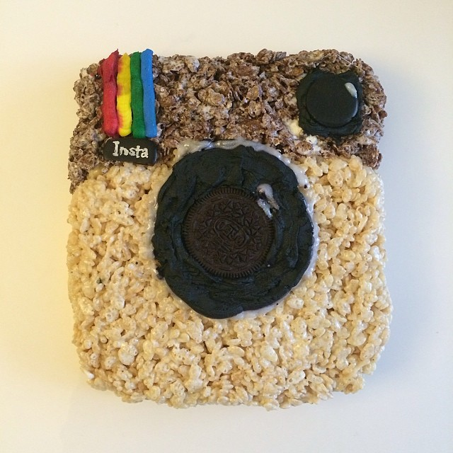 Instagram logo done with Rice Krispies