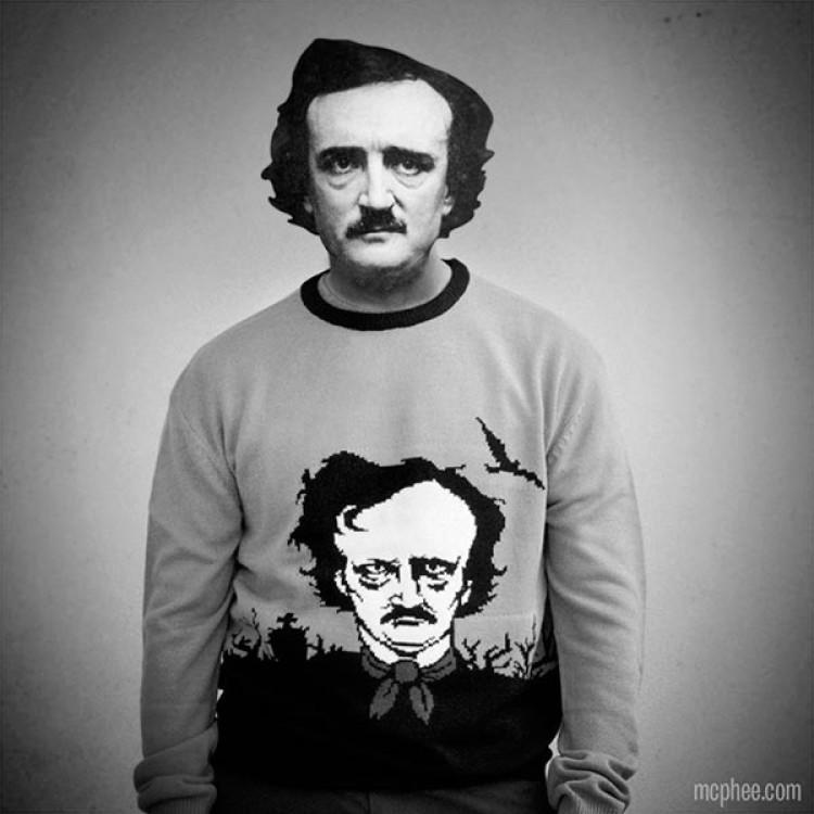 Poe wearing poe sweater