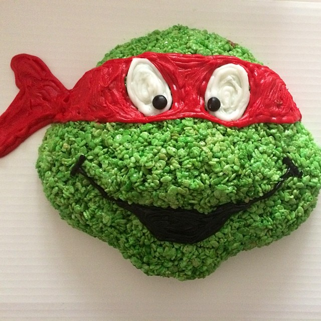 Ninja Turtle Raphael made of Rice Krisipies