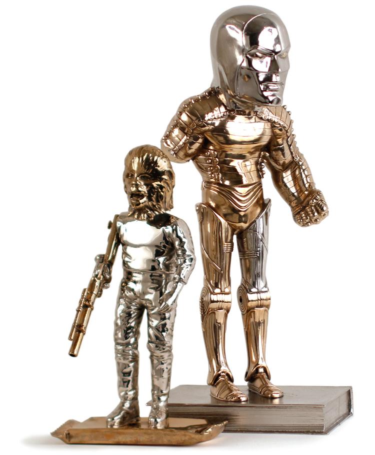 The Eternals #1 & #2 Bronze & Nickel Plated Sculptures by Kostas Seremetis