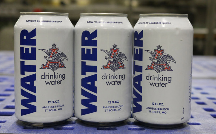 Cans Of Emergency Anheuser Busch Spring Water Sent To