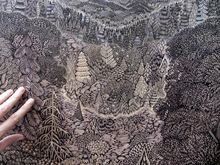 Overlook Woodcut by Tugboat Printshop