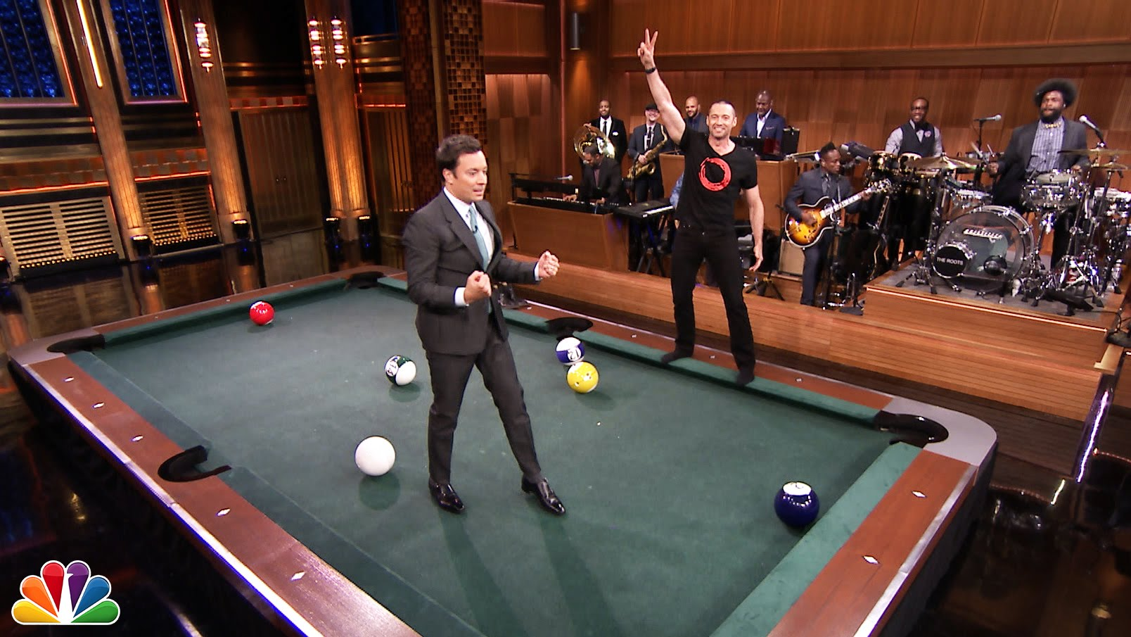 Hugh jackman tries to cheat fails during a game of pool for Pool game show