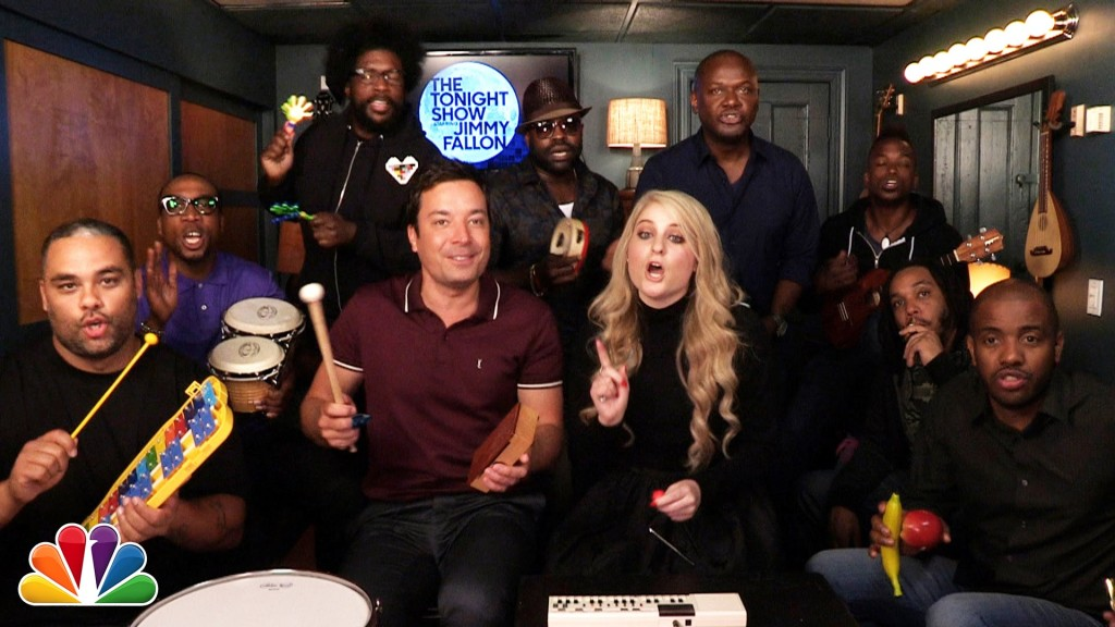 Jimmy Fallon, Meghan Trainor, and The Roots Play 'All About That Bass' Using Classroom Instruments