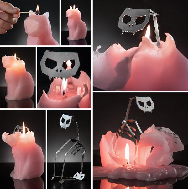 PyroPet Skeleton Candle