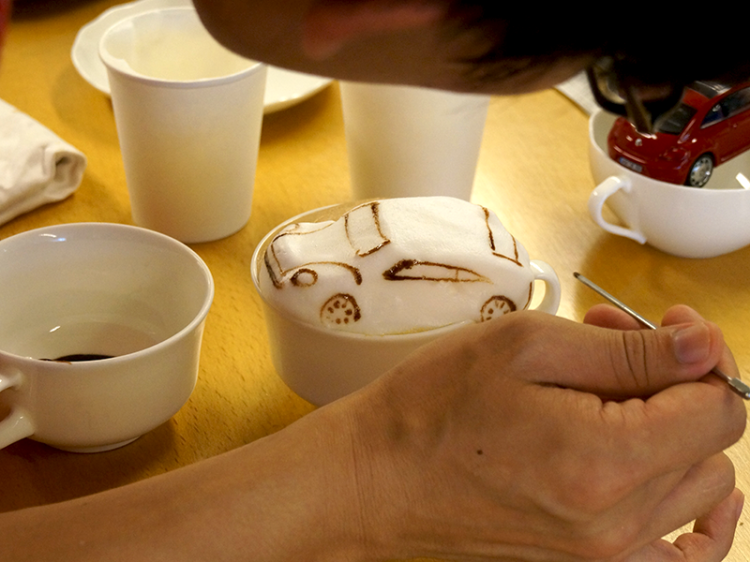 3D Latte Art of a Volkswagen Beetle