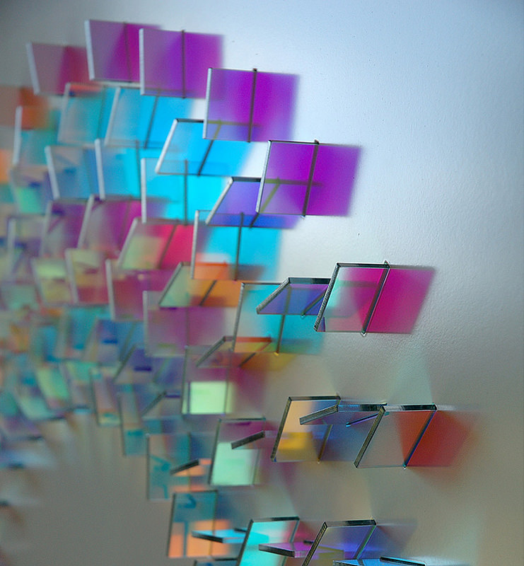 Dichroic Glass Sculptures by Chris Wood