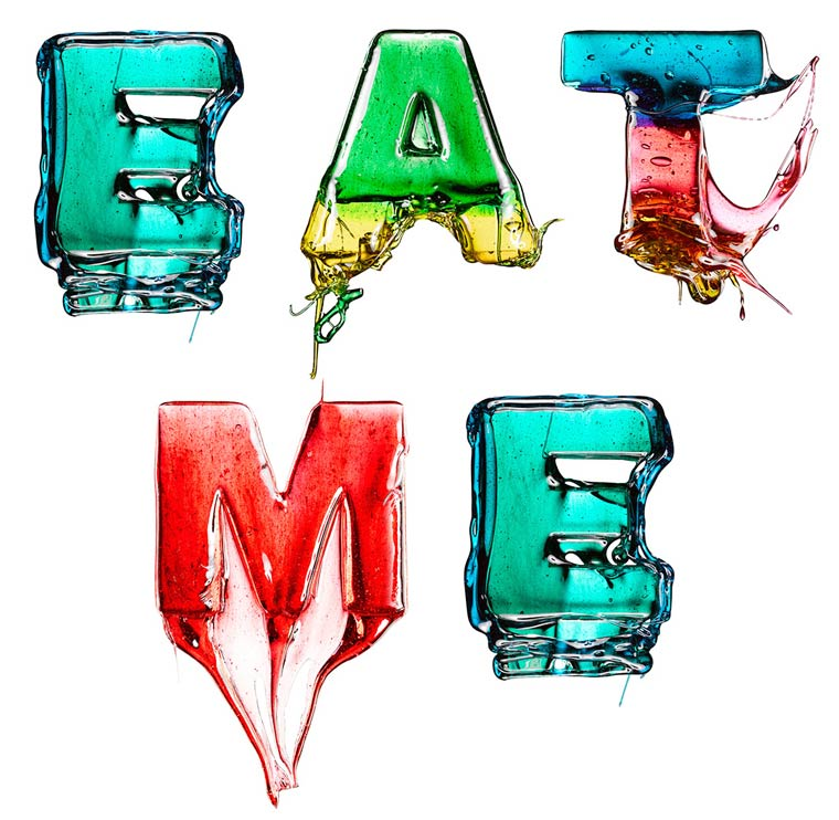 'Eat Me', Brightly Colored Letters Made of Hard Candy by Massimo Gammacurta
