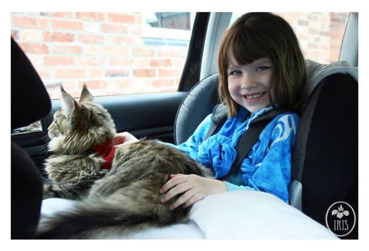 Iris and Thula in Car