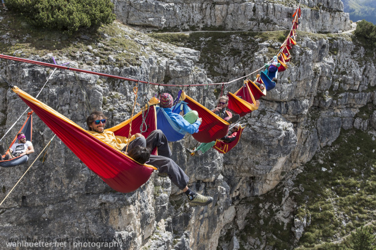 Hammock Stunt in the Italian Alps