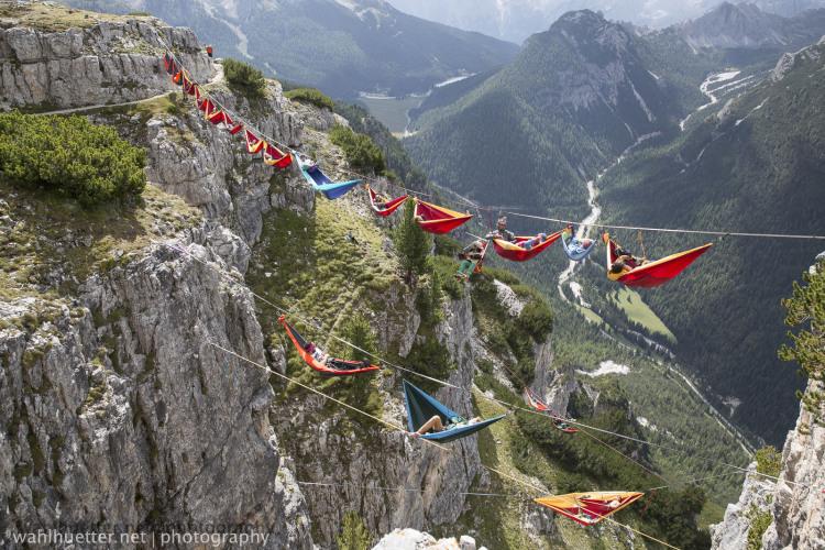 Hammock Stunt in the Italian Alps width=