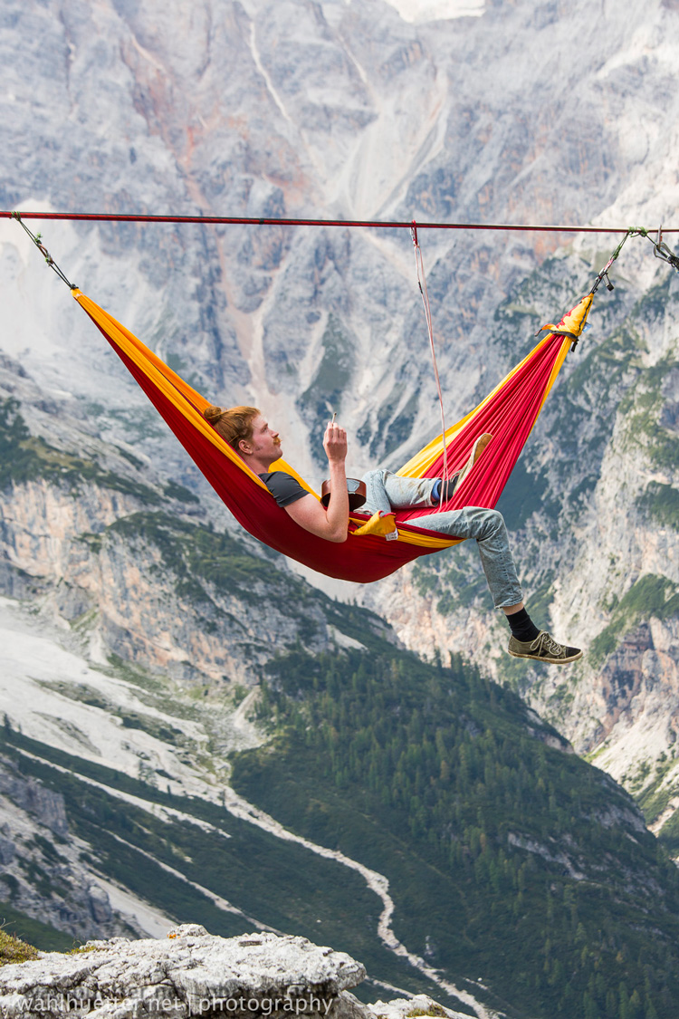 Hammock Stunt in the Italian Alps