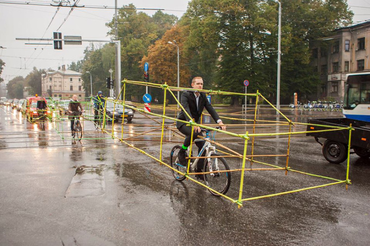 Latvia Car Costume Bicycle Protest