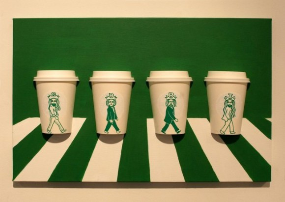 Altered Starbucks Logo Coffee Cup Art