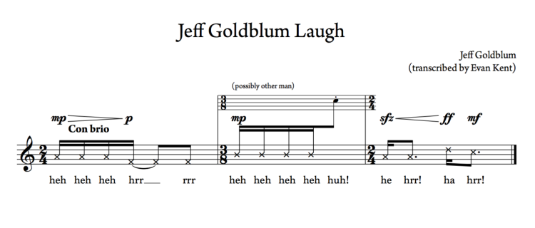 Jeff Goldblum Laugh Transcription