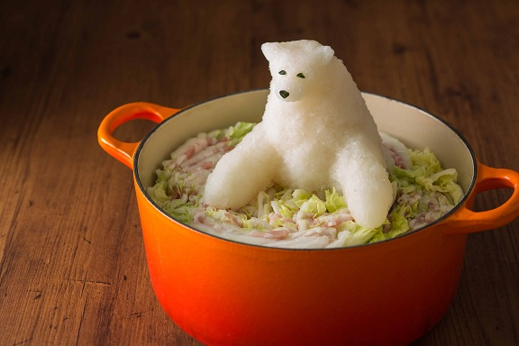 Daikon Radish Sculpture of a Polar Bear