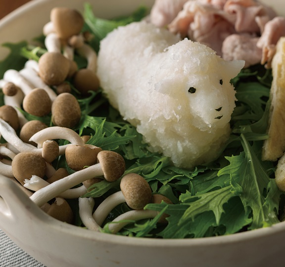 Daikon Radish Sculpture of a Sheep