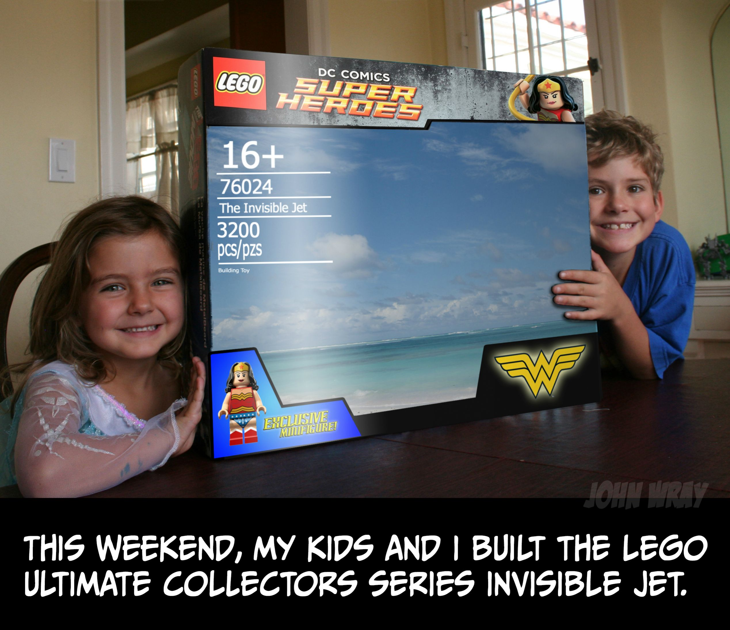 A Father and His Kids Build Wonder Woman's Invisible Jet Out of LEGO
