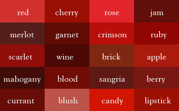 Color Thesaurus, A Visualization of the Various Names for Common Colors
