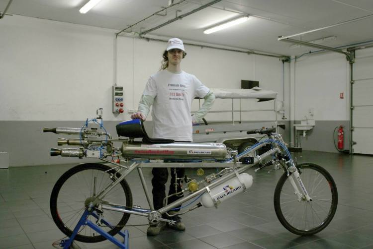 207 MPH Record on Rocket Powered Bicycle
