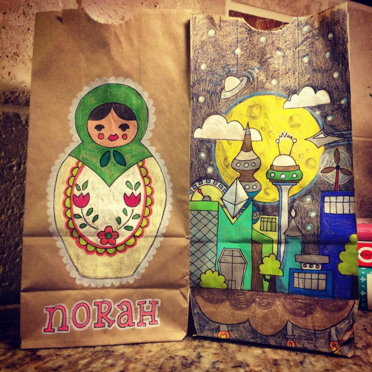 Lunch bag drawings