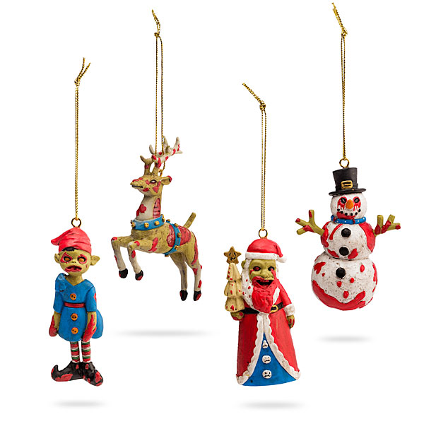 an undead set of four zombie christmas ornaments