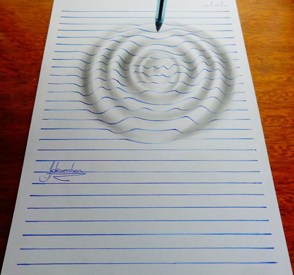 Lined Paper 3D Illusion Drawings by 15-Year-Old Artist