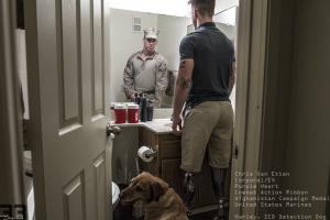 Cpl Chris Van Etten USMC and Harley, IED Detection