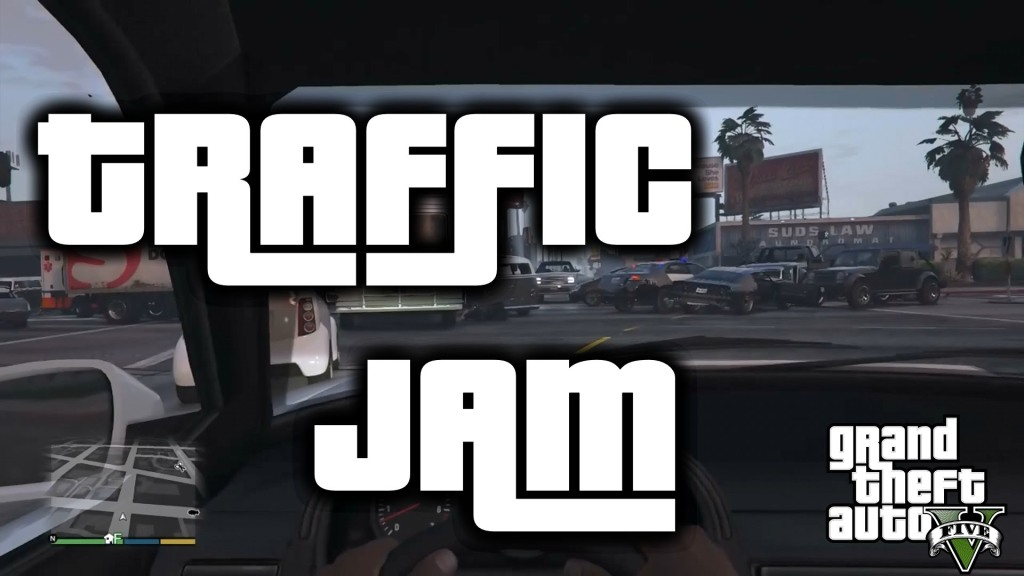 A Traffic Jam In The Video Game Grand Theft Auto V That Quickly