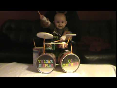 Adorable Baby Boy Rocks Out on the Drums to the Hardcore Heavy Metal Pantera Song '5 Minutes Alone'
