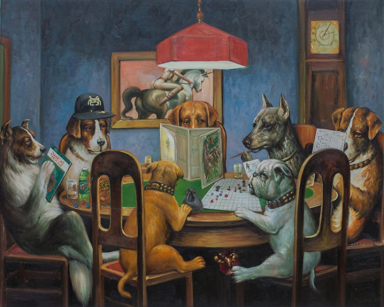 Dogs Playing D&D, A Dungeons & Dragons Version of a Classic 'Dogs Playing Poker' Painting